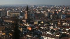Verona Aerial View Cityscape, Veneto, Church, Italy, Italian Alps, Medieval Town Stock Footage