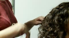 Perm hair of the girl in a barbershop Stock Footage