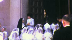 CATHOLIC PRIEST Girls Confirmation Children 1940s (Vintage Film Home Movie) 5024 - stock footage