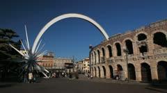 Veneto Area, Market Square, Verona Arena Roman, Medieval Romantic Old Town Stock Footage