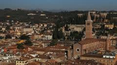Veneto, Church, Italy, Italian Alps, Verona Aerial View Cityscape, Medieval Town Stock Footage