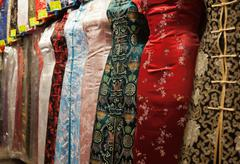 Chinese style dresses. temple street market. hong kong. Stock Photos