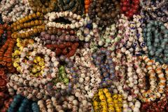 Colorful bracelets.temple street market. hong kong. Stock Photos