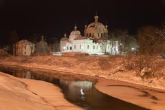 Cathedral of the annunciation and river gzhat at night. gagarin (former gzhat Stock Photos