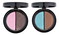 Stock Photo of set of 2 multicolored eye shadows isolated on white