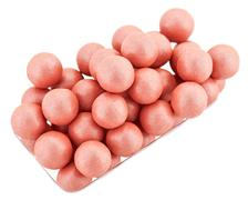 Pink cosmetics rouge balls isolated on white, macro Stock Photos