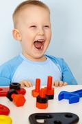 jubilant children with toys - stock photo