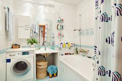 modern small bathroom in blue colors wide angle view - stock photo