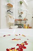 Part of bathroom with rose petals floating in water Stock Photos