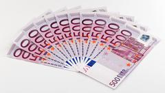 500 euro bank notes fanned out on a white background Stock Photos