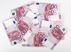 Many  bundle of 500 euro bank notes Stock Photos