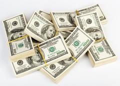 Many  bundle of us 100 dollars bank notes Stock Photos