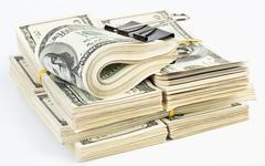 many  bundle of us 100 dollars bank notes - stock photo