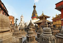 Swayambhunath (monkey temple) stupa on sunset kathmandu, nepal Stock Photos