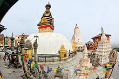 swayambhunath (monkey temple) stupa on sunset kathmandu, nepal - stock photo
