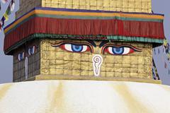 buddha  eyes on a boudha nath (bodhnath) stupa - stock photo