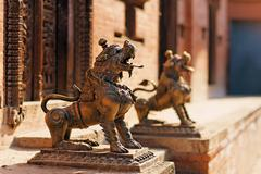 lion monster statue, bhaktapur, nepal - stock photo