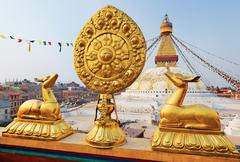 Golden brahma symbol in front of boudha nath (bodhnath) stupa in kathmandu, n Stock Photos
