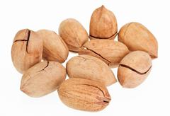 Many pecan nuts isolated on white Stock Photos