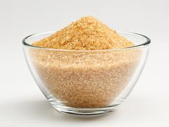 Stock Photo of cane sugar in a glass bowl