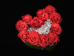 valentine's day rose decoration bouquet isolated on black - stock photo