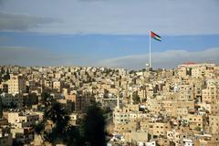 Amman city view with a flag, jordan Stock Photos