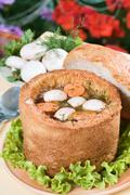 Mushroom soup in bread bowl Stock Photos