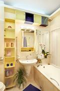 Modern bathroom in yellow and blue vivid colors Stock Photos