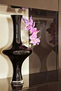Vase with orchid flower in brown niche Stock Photos