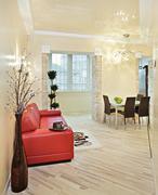 modern studio interior with red sofa - stock photo