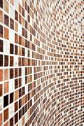 wall with brown mosaic pattern - stock photo