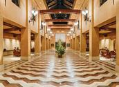 Stock Photo of huge hall interior in golden colors