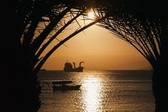 Golden jordan sunset in aqaba, red sea Stock Photos
