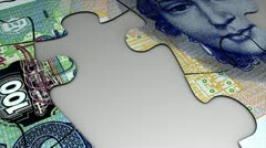 Germany Deutsche mark banknote puzzle animation. Stock Footage