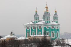 Assumption (uspensky) cathedral. smolenk. russia. Stock Photos