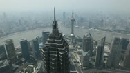Pudong Aerial View of Shanghai Skyline, China, Huangpu River, Skyscrapers Stock Footage