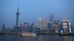 Shanghai Skyline, China, Huangpu River, Skyscrapers, Cityscape, time lapse - stock footage