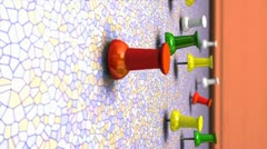 Wall pin 3d animation, close up, push, thumb, colourful. Stock Footage