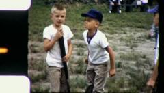 ANGRY BOY BACKYARD BASEBALL Game Boys 1960 (Vintage 8mm Home Movie Footage) 5032 - stock footage