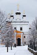 orthodox monastery davidova pustin and assumption church of the blessed virgi - stock photo