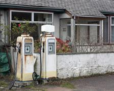 Nostalgic white filling station Stock Photos