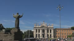 Urban Traffic, Italy Rome,church Sf.Giovani Stock Footage
