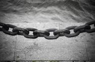 Fencing of anchor chain. Stock Photos