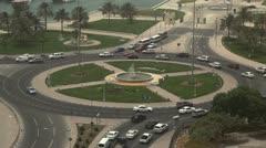 Qatar, Doha Corniche, Roundabout, Crowded Freeway, Persian Gulf, Arabian Stock Footage