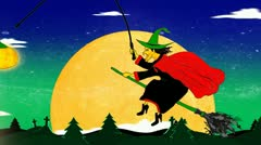 Happy Halloween, witch, cartoon animated. Stock Footage