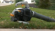 Stock Video Footage of Grey Leaf Blower Turn On and Rev Up