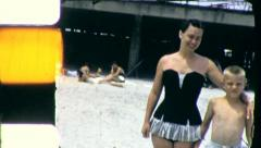 MOTHER AND SON at the Ocean Beach 1955 (Vintage Old Film Home Movie) 5051 Stock Footage
