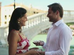 Rich couple getting engaged in Venice Stock Footage