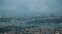 Istanbul Skyline Time Lapse, Storm Clouds on the Istanbul with Bosporus Bridge Stock Footage