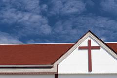 Stock Photo of Roof of the church against blue sky.